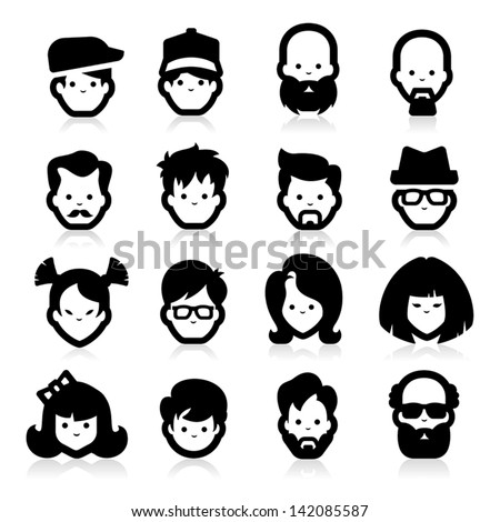 People Icons Three - stock vector