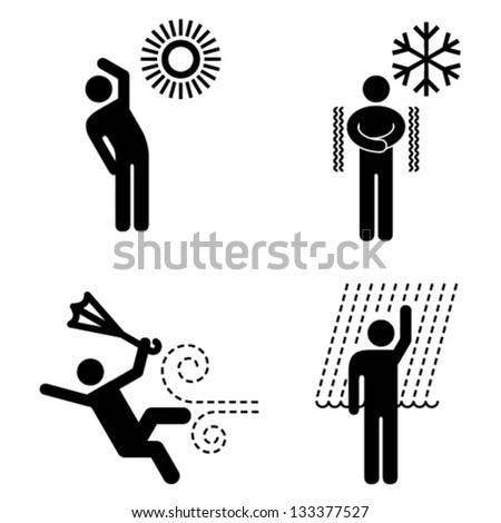 People icons. Weather / environmental exposure hazards. - stock vector