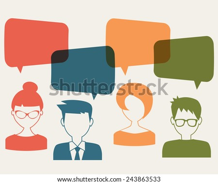 people icons with chat speech bubbles - stock vector