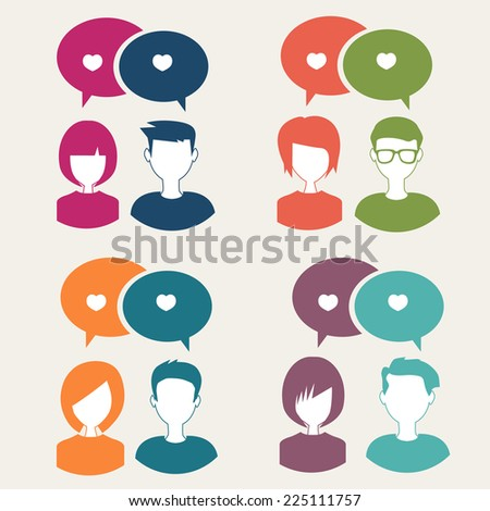 people icons with clouds thoughts - stock vector