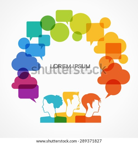 people icons with colorful dialog speech bubbles. This image contains transparency. - stock vector