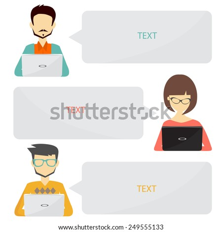 people icons with dialog idea speech bubbles infographic concept - stock vector