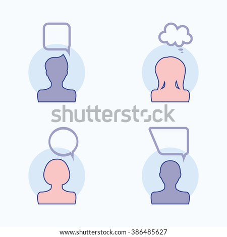 People icons with dialog speech bubbles. Vector illustration - stock vector