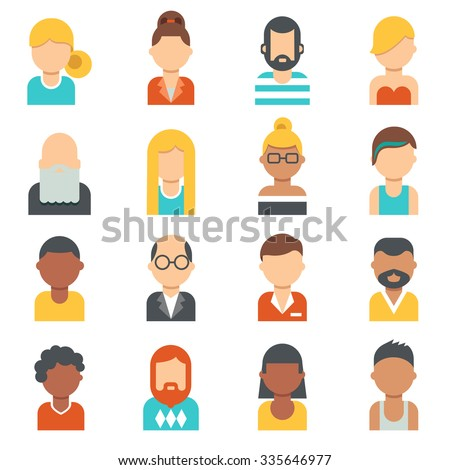 People icons. Young, seniors , males and females profile pictures. Different nationalities, hair styles and clothes. Flat design.  - stock vector