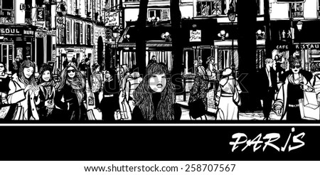 people in a street of Paris - vector illustration - stock vector