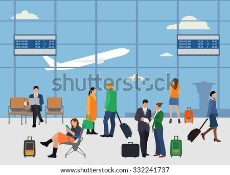 People in airport flat style design vector illustration. Man and woman talking at the airport. Business people in airport. Business travel concept. - stock vector