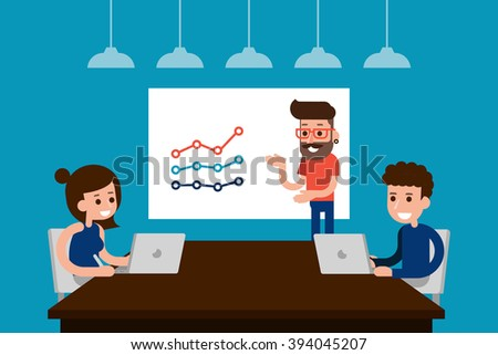 People in casual wear discussing in the meeting room. - stock vector