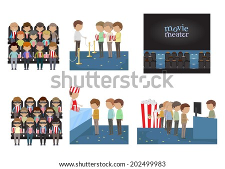 People In Cinema Set - Isolated On White Background - Vector Illustration, Graphic Design Editable For Your Design.  - stock vector