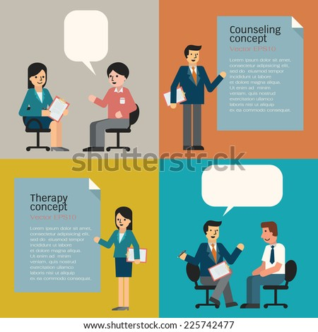 People in counseling and therapy concept,  including guidance and analysis. Cartoon man and woman in trendy flat design.  - stock vector