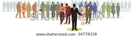 People in four line silhouette, color isolated vector - stock vector