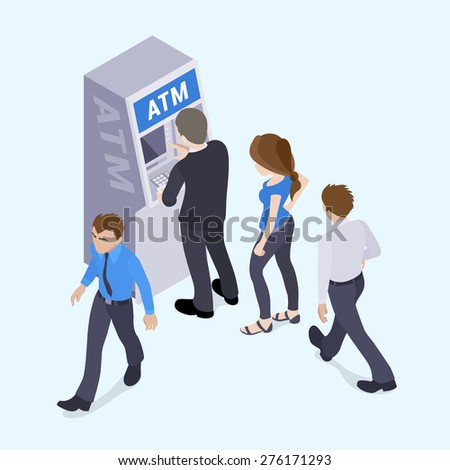 People in line in front of the ATM. Illustration suitable for advertising and promotion - stock vector