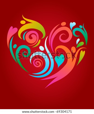 People in love, abstract background - stock vector