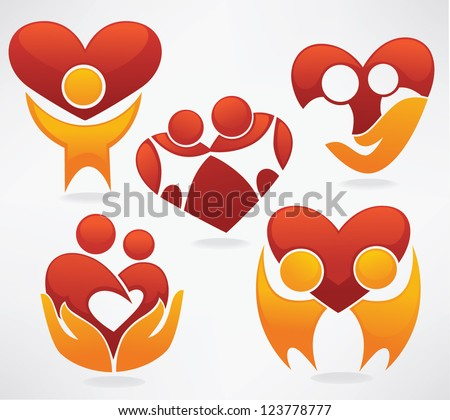 people in love, happy family vector symbols collection - stock vector