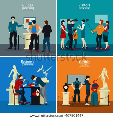 People in museum and gallery 2x2 design concept with exhibits restorers guides and visitors flat vector illustration - stock vector