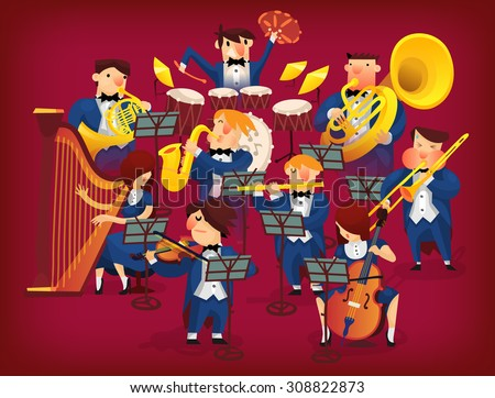 People in musicians pit playing in classic symphonic orchestra on all kinds of instruments - stock vector