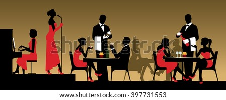 People in night club or restaurant sitting at a table Stock vector illustration - stock vector