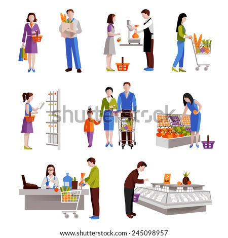 People in supermarket buying grocery products decorative icons set isolated vector illustration - stock vector