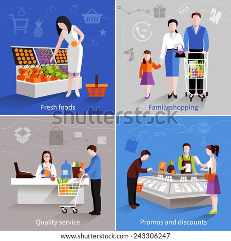 People in supermarket design concept set with fresh fruits family shopping quality service promos and discounts flat icons isolated vector illustration - stock vector