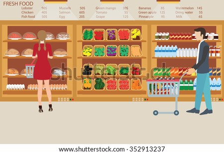 People in supermarket grocery store with fresh food, fruits, vegetables, beverage, vector illustration. - stock vector