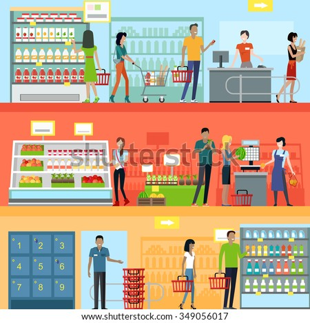 People in supermarket interior design. People shopping, supermarket shopping, marketing people, market shop interior, customer in mall, retail store illustration - stock vector
