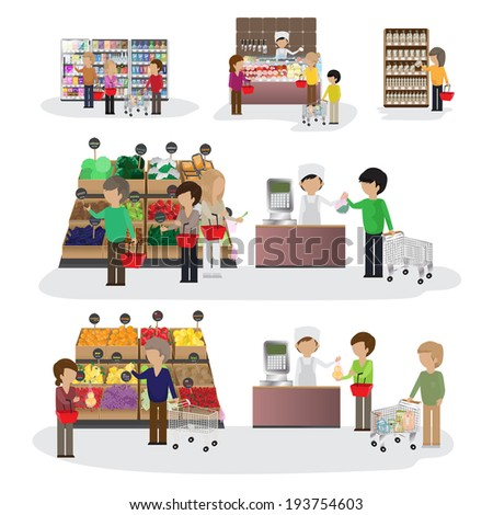 People In Supermarket - Isolated On White Background - Vector Illustration, Graphic Design Editable For Your Design - stock vector
