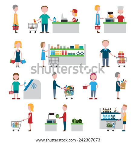 People in supermarket with shopping carts and baskets set isolated vector illustration - stock vector