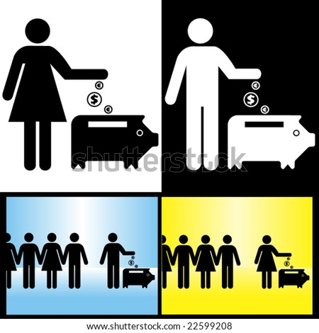 people inline concept - one of many: saving money - piggy bank - stock vector