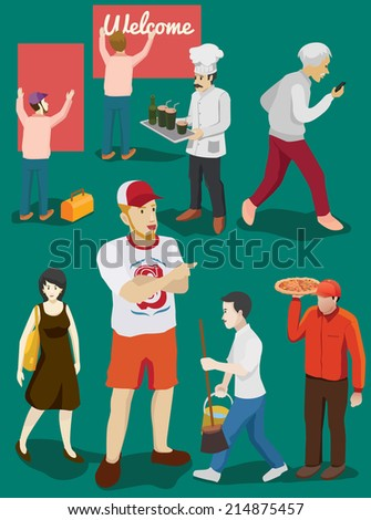 people isometric set. several occupation and activity - stock vector