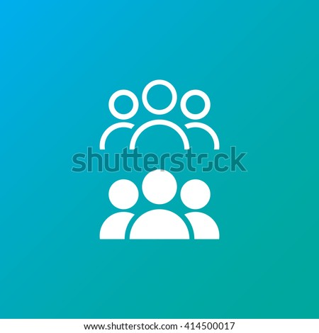 people line icon, leader outline and solid vector illustration, white linear pictogram - stock vector