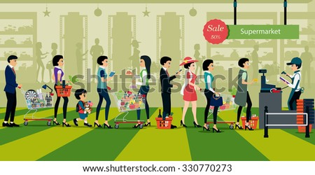 People line up to pay for shopping in supermarkets. - stock vector