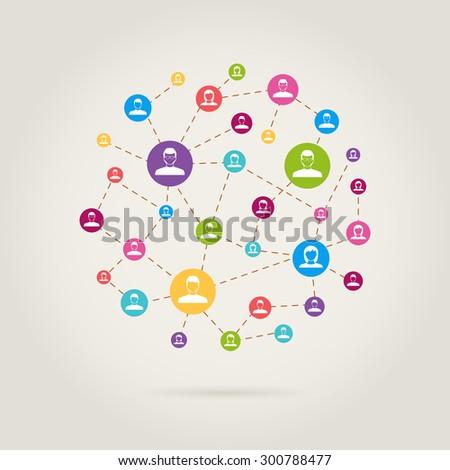 people link in social network - stock vector