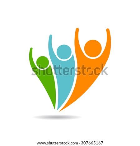 People logo vector. 3 people. - stock vector