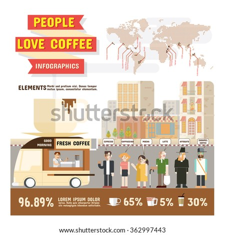 People love coffee infographics, Design character cartoon and elements of coffee lover vector illustration. - stock vector