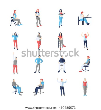 People, male, female, in different casual common poses - modern vector flat design isolated icons set. Standing, sitting, holding book, delight, success, at the computer - stock vector