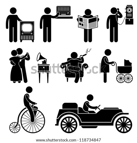 People Man Using Retro Vintage Object Stick Figure Pictogram Icon - stock vector