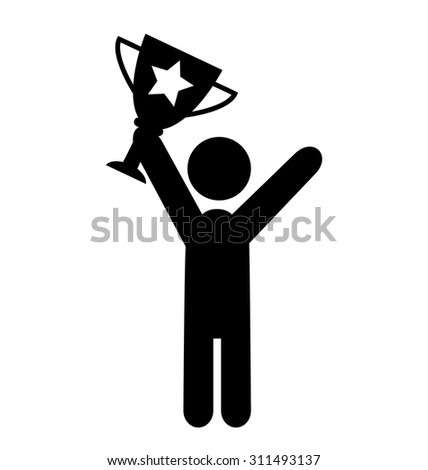 People Man with Winner Cup Flat Icons Pictogram Isolated on White Background - stock vector