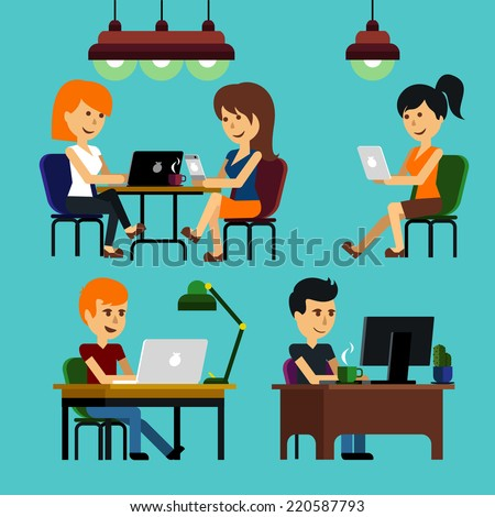 People man woman guy girl sitting on chair at table in front of computer laptop monitor and shining lamp cartoon flat design style - stock vector