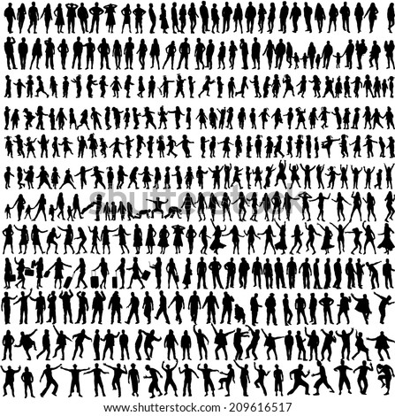 People Mix Silhouettes, vector work  - stock vector