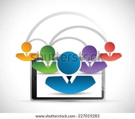 people network link tablet illustration design over a white background - stock vector