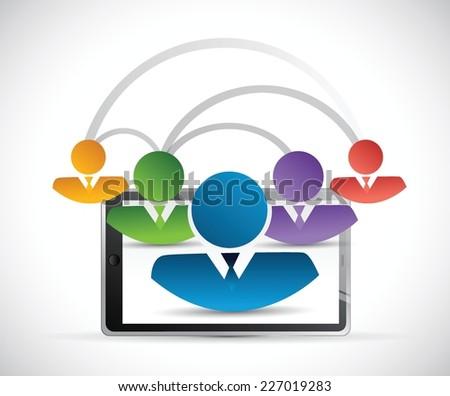 people network link tablet illustration design over a white background - stock vector