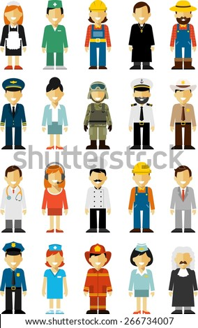 People occupation characters set in flat style isolated on white background - stock vector