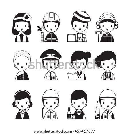 People Occupations Icons Set, Monochrome, Profession, Avatar, Worker, Job, Duty - stock vector