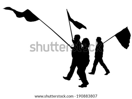 People of anarchia with large flags - stock vector