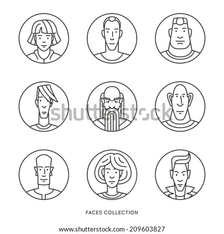 People of different ages and social groups. Outline vector icons set in modern line art style - stock vector