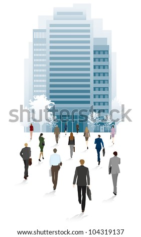 People of the town business people / Go to the office - stock vector