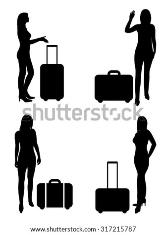 People on airport, woman with suitcase - vector silhouettes - stock vector