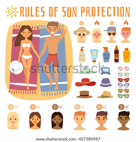 People on beach outdoors, summer friendship lifestyle. People on summer beach, sunlight teenagers people on beach. People on the sand beach fun vacation happy time cartoon vector illustration. - stock vector