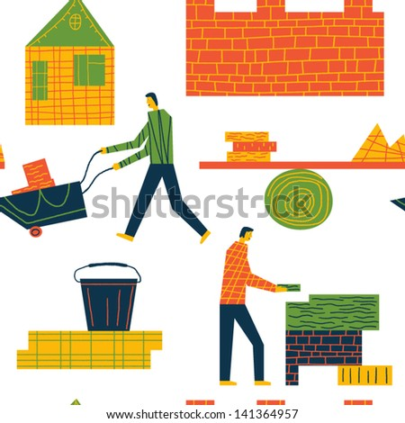 people on the building site vector seamless background - stock vector