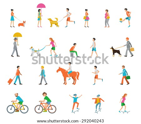 People on the street. Neighbors. Flat icons.  - stock vector
