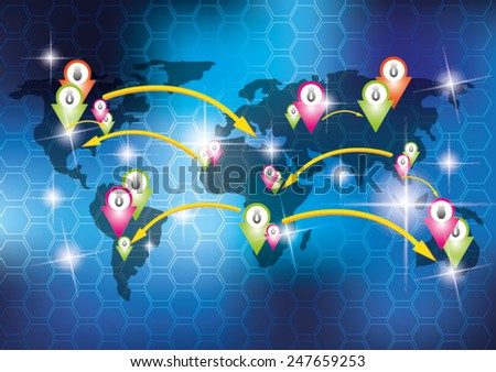 People on world map for business - stock vector